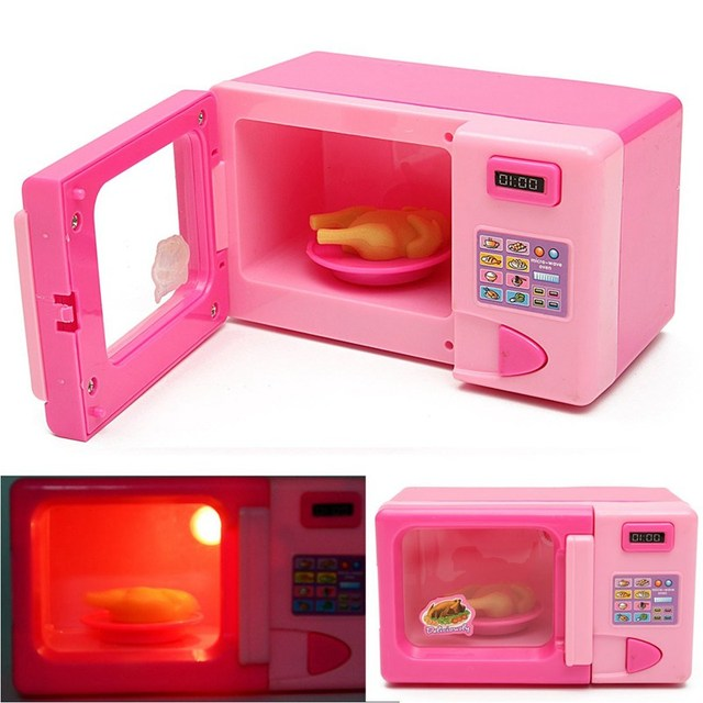 Children Kids Miniatura Cute Pink Microwave Oven Toy Educational For Doll House Playing Toys Set