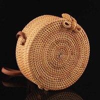 Multi purpose Boho Rattan Round Crossbody Bag With Adjustable Genuine Strap Women Storage Bags Makeup Organizer Toto