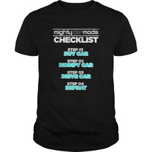 Funny Men t shirt  novelty tshirt MIGHTY MODS CHECK LIST CAR CHECKLIST ENTHUSIAST TURBO ENGINE cool T-Shirt