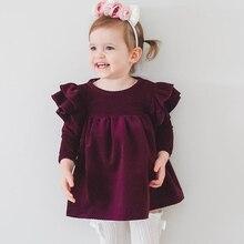 Autumn Fly Sleeve Girls Bow Dress Long Sleeve Princess Dress for Girl Children Clothing Baby Kids Cute Dresses