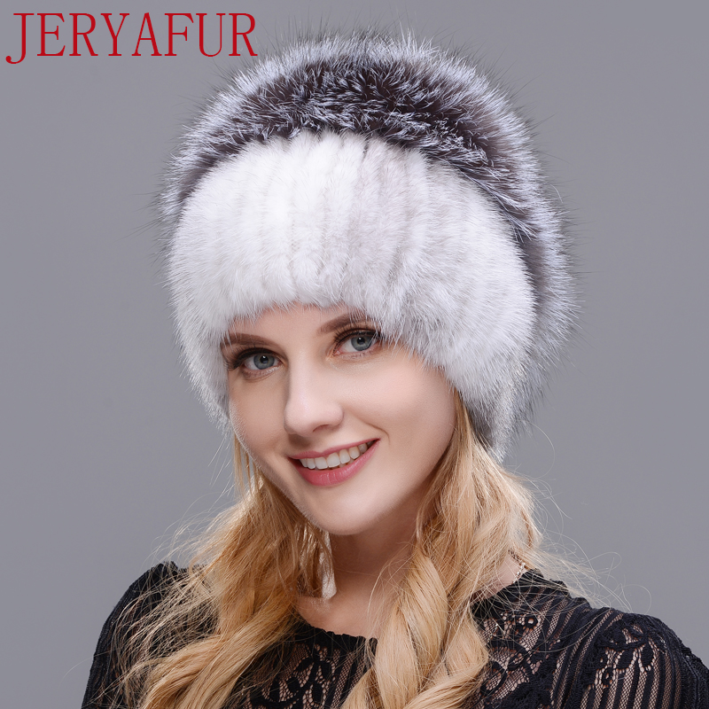2018 new hat mink and fox together stitching real fur hat Russian women winter knit hat protection ear free delivery