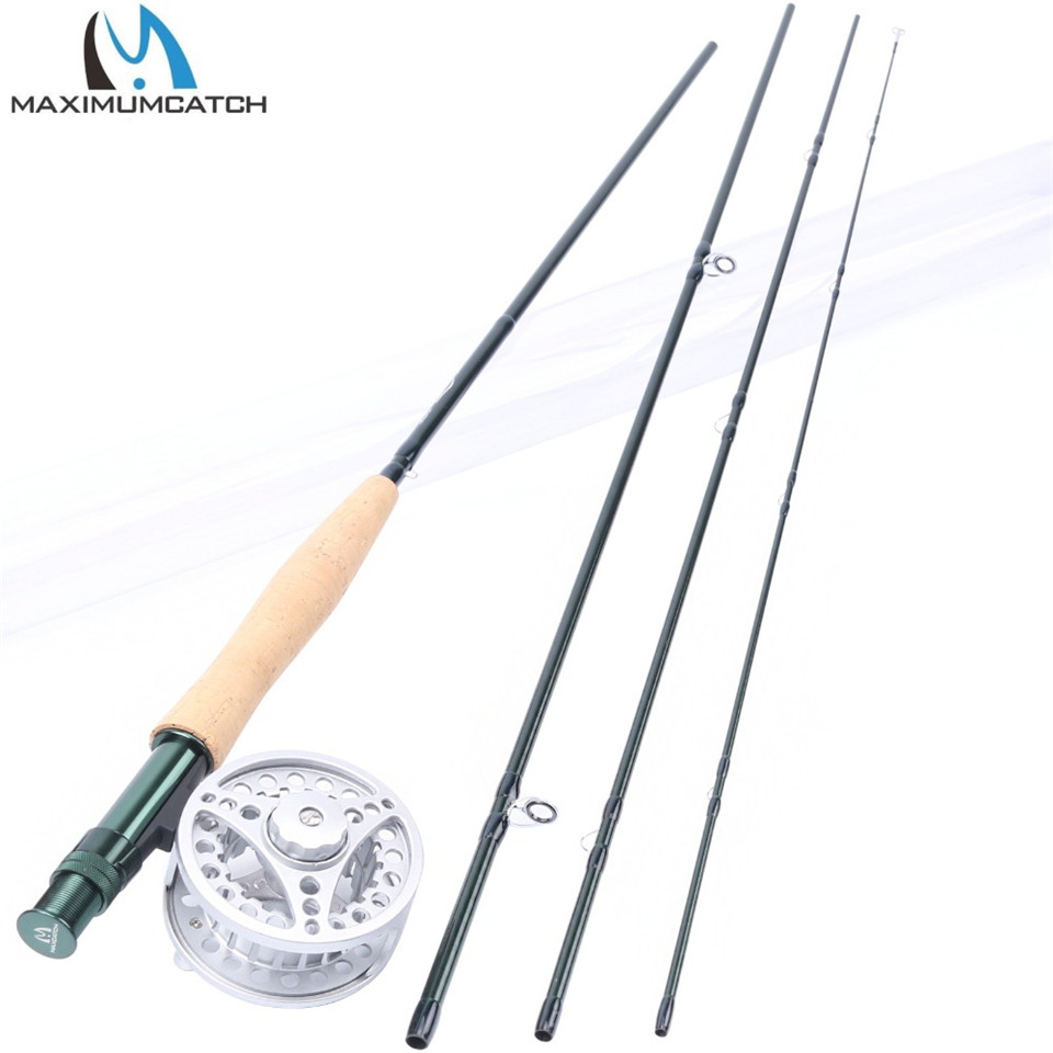Maximumcatch Fly Rod and Reel Combo 8'4/8'6'/9'/9'6''/10 3/4/5/6/7/8WT Carbon Fishing Rod with Large arbor Aluminum Reel