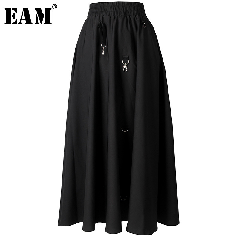 [EAM] 2020 New Spring Summer High Elastic Waist Black Draped Spliced Metal Decoration Half-body Skirt Women Fashion TideJY505