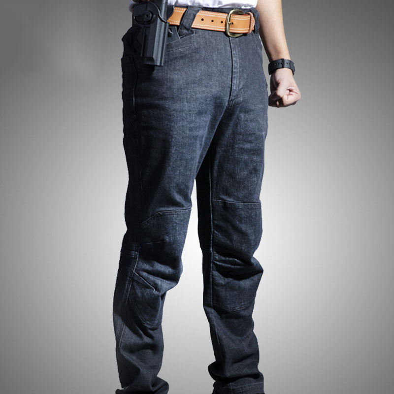 Men Tactical Jeans Warm Breathable Wear-resistant Sweat Absorbing Multi-pockets Denim Pants NFE99