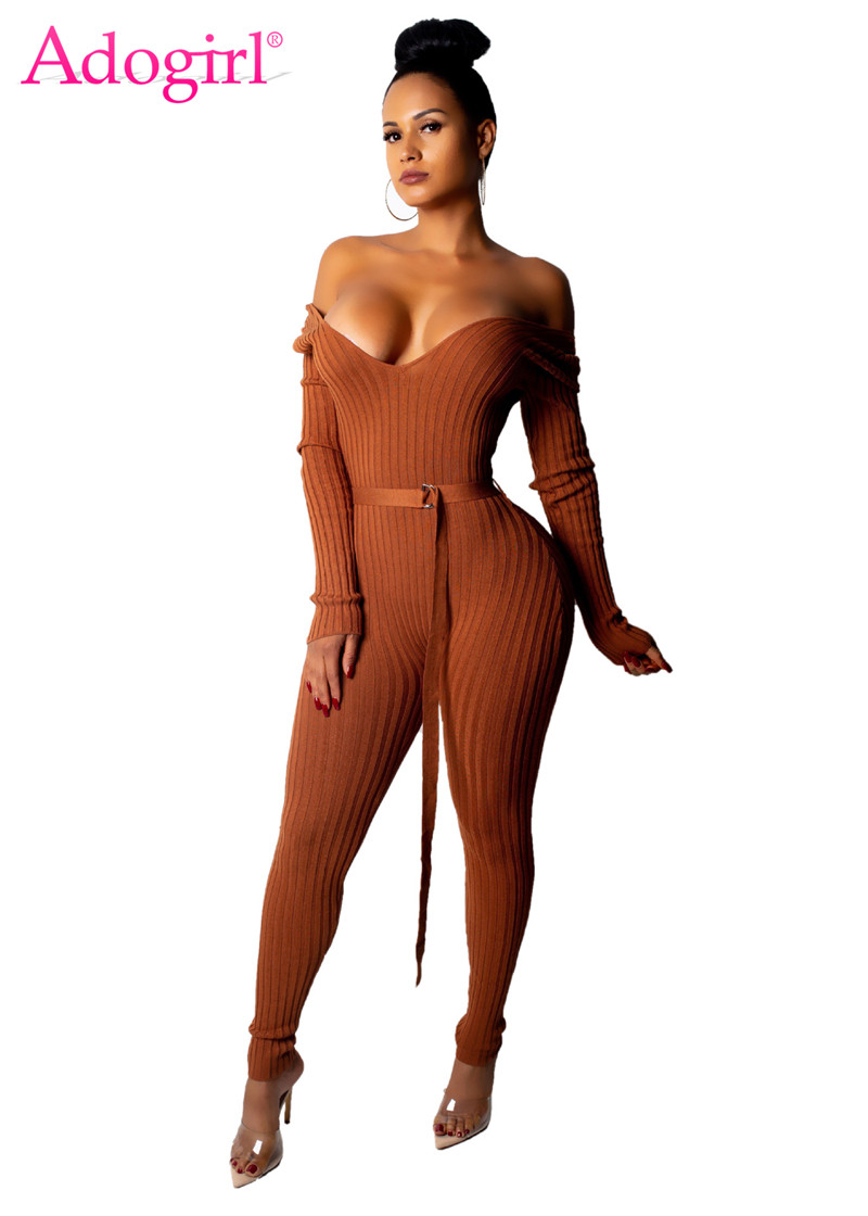 Adogirl Solid Off Shoulder Ribbed Jumpsuit With Belt Women Sexy V Neck Long Sleeve Romper Night Club Overalls Knitting Jumper