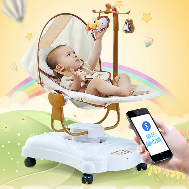 97bc921d030 Baby To Sleep Cradle Rocking Chair Electric Crib Baby Bouncer Swing with Plug  Intelligent Newborn Bed Bluetooth Version