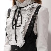 New Chiffon Women S Body Blouse Tops Shirt Stand Collar Ruffles Xxl Plus Size