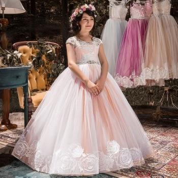 5c144f9bbdfccdf От 6 до 14 лет Детские платья для девочек Свадебное кружево из тюля длинное  платье для девочек платье принцессы вечерние для подружки невесты.
