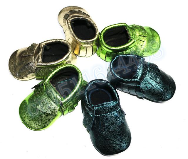 2015 sapatas de bebê primeira walker criança sapatos mocassins de couro genuíno mocassins bebê metálico franja meninos/meninas sapatos mocassins