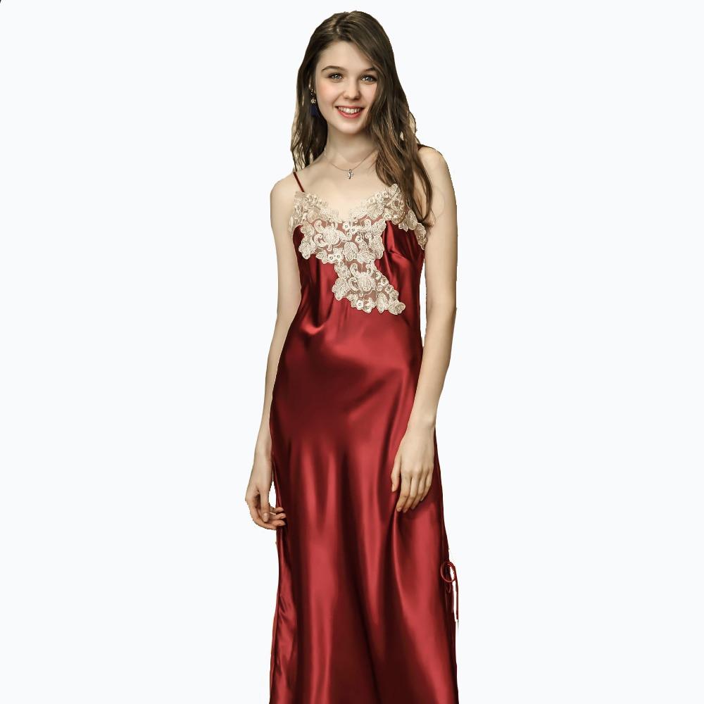 2018 Long   Nightgown   Ankle-Length Spaghetti Strap Negligees Brand Women Summer Lace   Sleepshirt   Silk Satin Nightdress Sleepwear