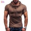 De Los nuevos Hombres Tops Camisetas 2016 Del Verano Del Algodón O Del Cuello Corto manga corta Camiseta del Hombre Moda Delgado Encapuchado Sólida Camisetas Mens