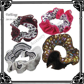 Hot sale !Newest 12pcs/lot elastic hair band silk flower hair holder Ponytail hair holder