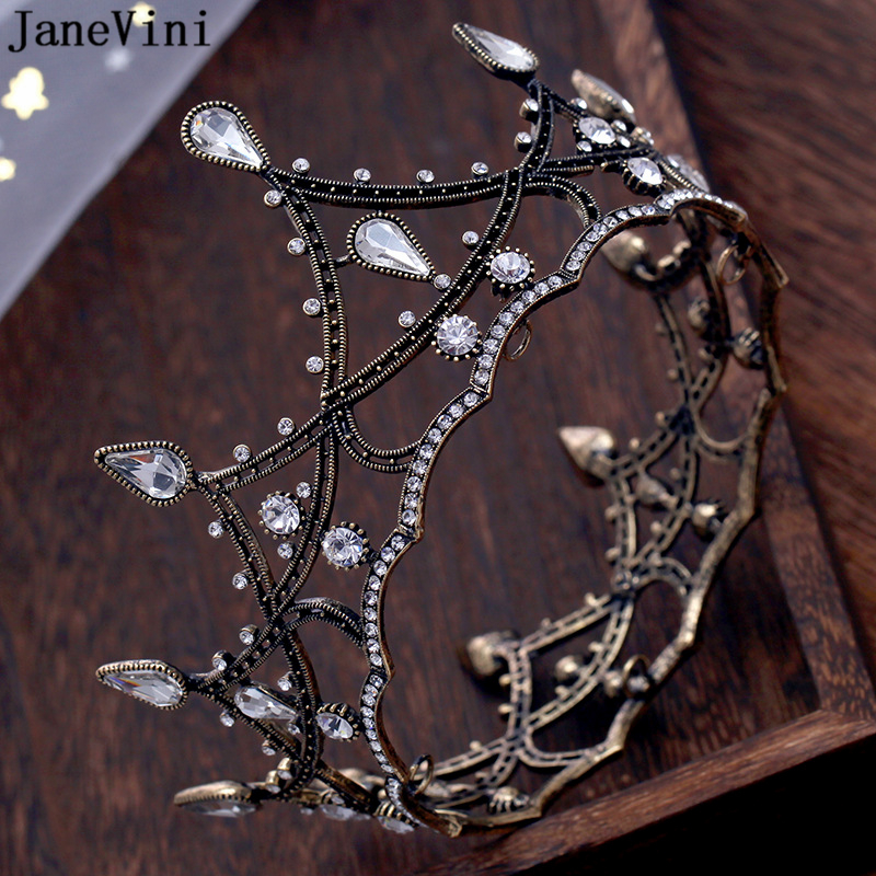 JaneVini Vintage Baroque Crystal Black Wedding Crowns Full Circle Tiara for Women Bridal Diadem Jewelry Wedding Hair Accessories