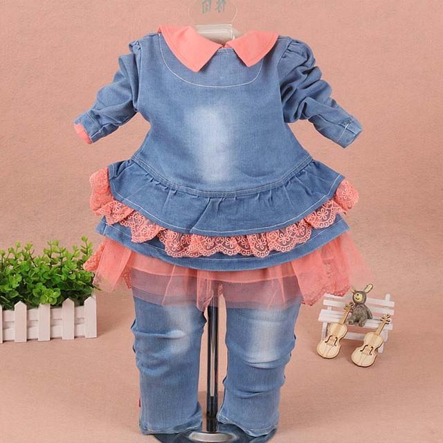 Girls clothes for children Set baby girl clothes 3 pieces suit coat denim pants 2019 autumn spring kids toddler cowboy clothes