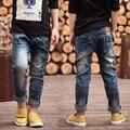 Бесплатная доставка, детская одежда осень брюки дети детские брюки Тонкий Личности Мальчиков джинсы, мальчики молнии джинсы