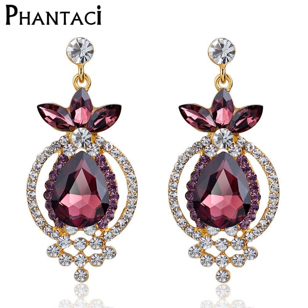 Elegant Bridal Set Heavy Gold Plated Diamante Crystal: Brand European Luxury Drop Earrings Heavy Crystal Gold