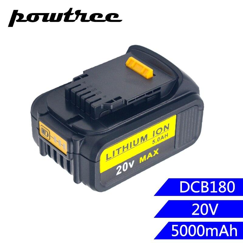 Batterie Rechargeable 5000 mAh Li-ion DCB180 pour DEWALT DCB180, DCB181, DCB181-XJ, DCB200, DCB201, DCB201-2, DCB204, DCB20 L10