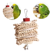 Pet Toy Bird Parrot Cage Hanging Toys Cuttlebone Loofah Sponge Dough Twist Chewing With Little Bell