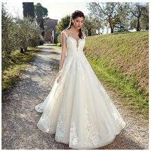 2019 Ivory Elegant Appliqued Informal Wedding Dresses A Line Train Illusion Sleeveless Bride Custom Made