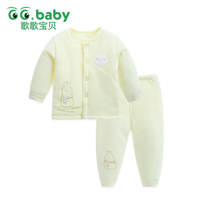 Rabbit Winter Thick Baby Pajamas Sleep Sets For Newborns Warm Cotton Baby Boy Clothing Set Kid Girls Suit Spring Clothes Pajamas woolen kintted newborns baby boy clothing sets spring autumn warm fashion outerwear toddler clothes suit infant baby cloth 2017