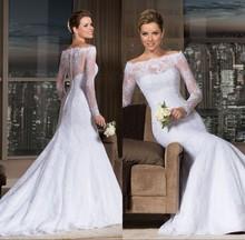 Custom Made 2014 New Elegant Long Sleeve Lace Bridal Gown vestidos de noivas renda Mermaid Wedding Dresses ZY3030