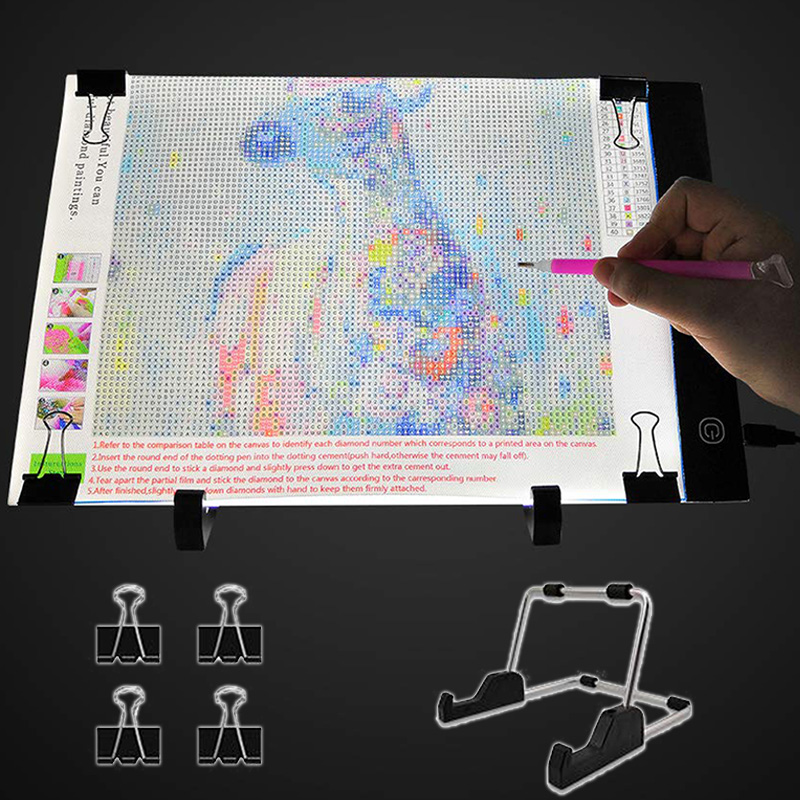 A4 LED Light Pad For Diamond Painting, USB Powered 5D Diamond Embroidery Accessories Light Board Tools Kit