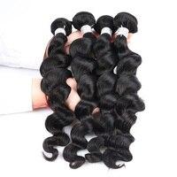 Honey Queen Brazilian Remy Hair Loose Wave Human Hair Weaving Bundles Natural Color
