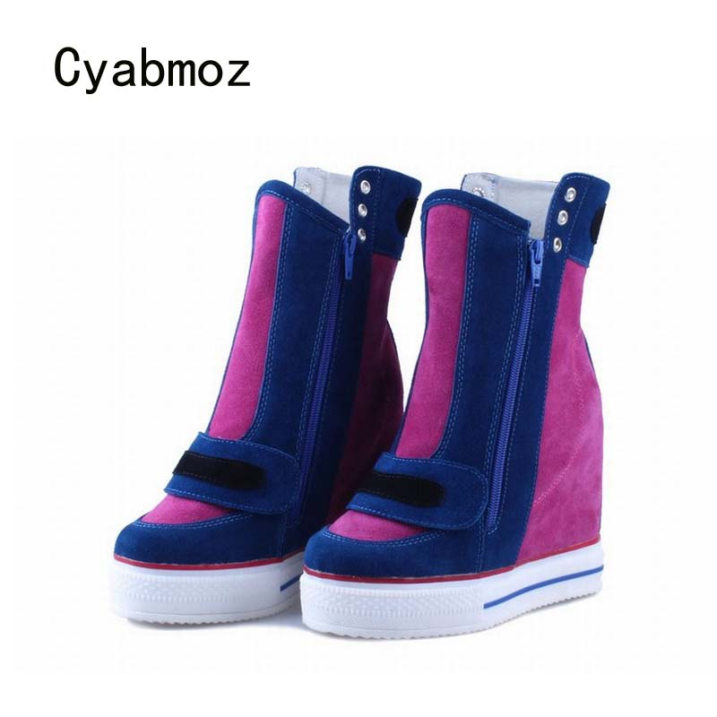 Cyabmoz Women Genuine leather Platform Wedge Shoes Woman High heels Mixed colors Zapatillas deportivas Zapatos mujer Ankle Boots цена и фото