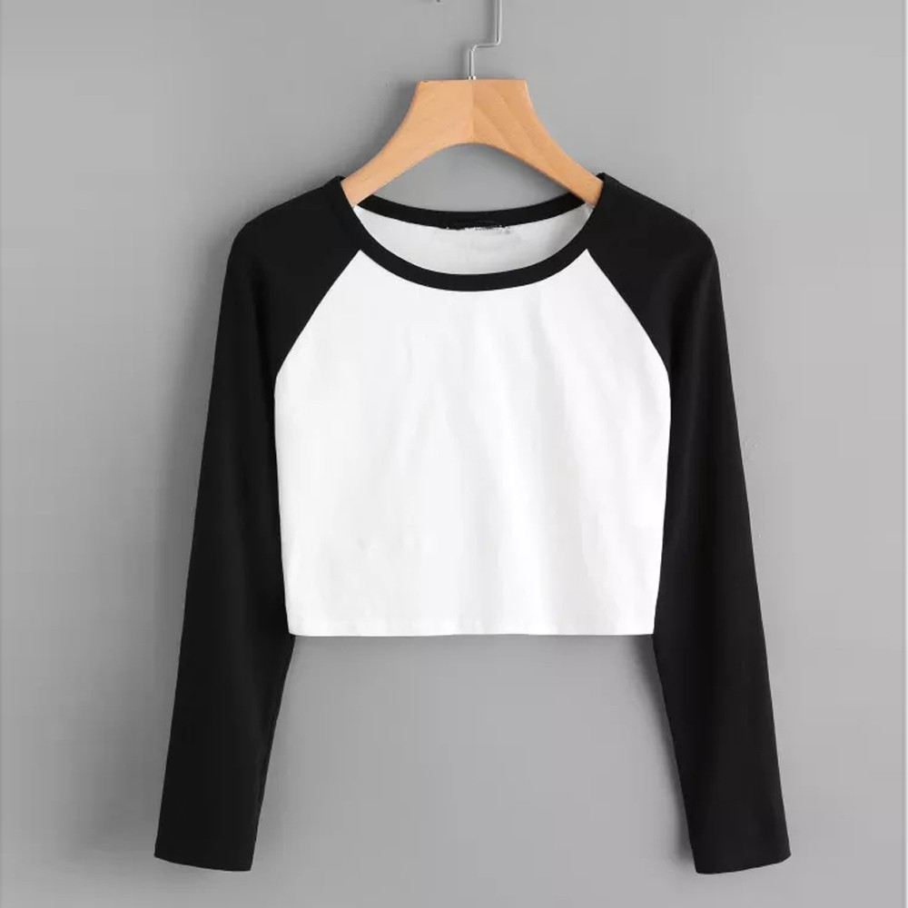 Women's Tops Daily Casual Long Sleeve Solid Patchwork Stretchy Tee Female Harajuku Short Korean Girls Befree Clothes 2019