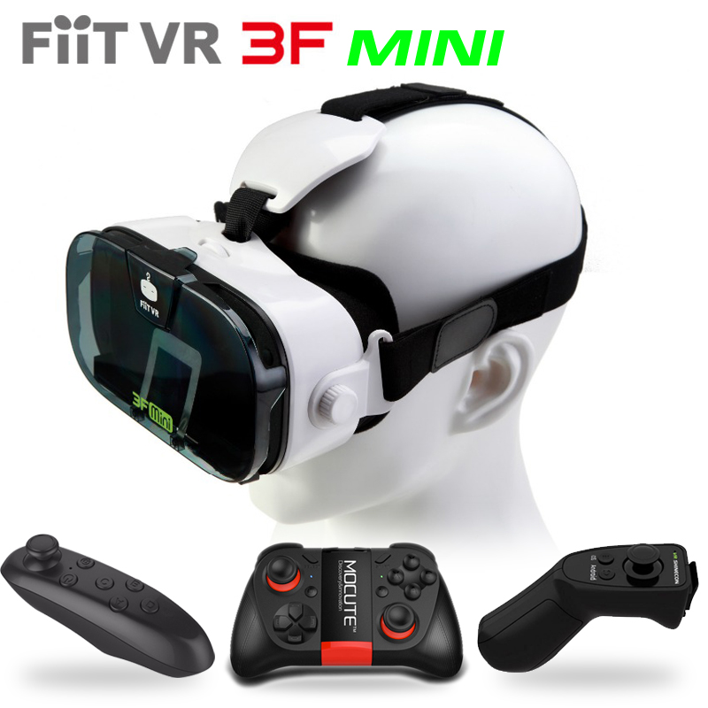 Fiit VR 3F Mini Virtual Reality 3D Glasses Helmet VR 3D Movie Glasses Headset Box Cardboard for 4.0-6.3″Smartphone+Controller