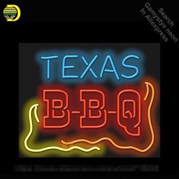 Texas Barbecue Neon Sign lampadina al neon Segno Motel luce Al Neon Segno Tubo di vetro Artigianato Iconic Commerciale Segno luci Al Neon Luminoso colore
