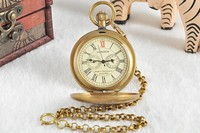 Collectible Antique Old Copper Mechanical Pocket Watch FOB Chain Hand Winding Roman numerals 12/24 Hours Vintage Clock
