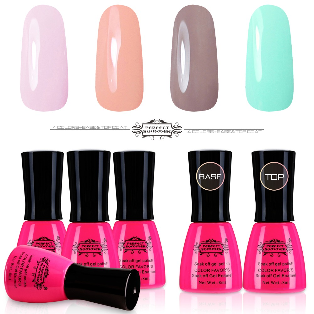 Perfect Summer 4 Colors UV Gel Polish with Base Gel Finish Cover Nail Art Set Soak off LED UV Nail Gel candy lover professional gel nail polish popular classic pastel colors set with clear base coat