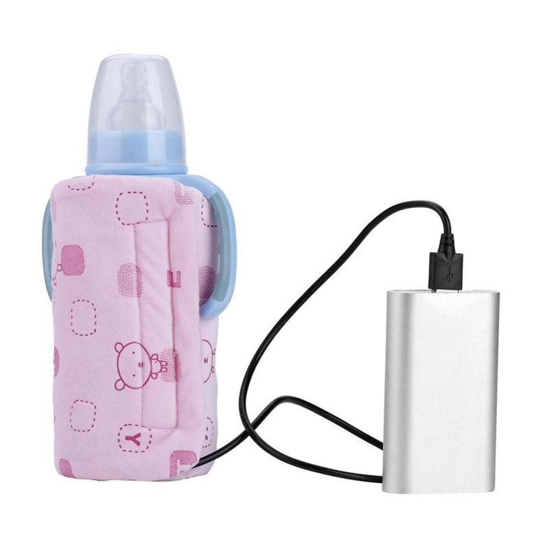 Pink USB Baby Bottle Warmer Portable Milk Travel Storage Insulation Thermostat Bottle Warmer Cover Baby Bottle Warmer