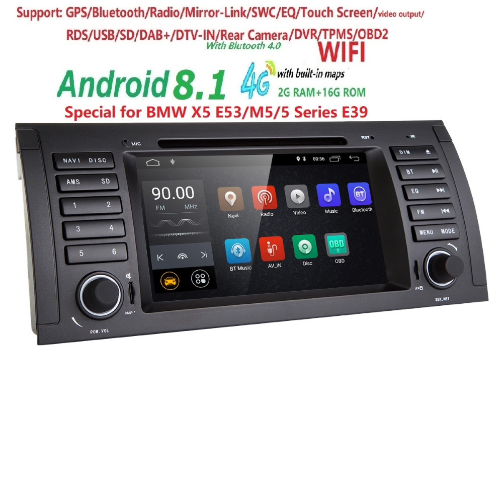 7 Car DVD Player Android 8 1 Quad Core for BMW 5 Series E39 X5 E53