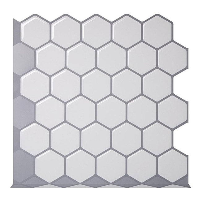 Hexagon Off White Vinyl Sticker Self Adhesive Wallpaper 3D Peel and Stick Square Wall Tiles for Kitchen and Bathroom Backsplash 2