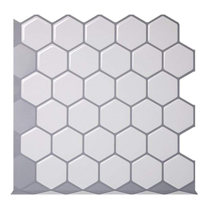 Hexagon Off White Vinyl Sticker Self Adhesive Wallpaper L And Stick Square Wall Tiles For Kitchen Bathroom Backsplash
