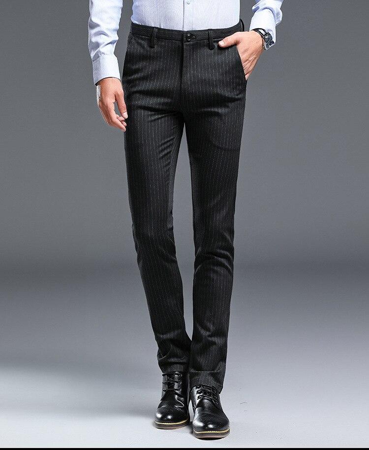 Marca Negro Gris Rayas Delgado Vestido Formal Pantalones Para Hombres Coreano De Negocios Casual Traje Pantalones Hombres Ropa De Trabajo Pantalon Largo Pantalon Pantalones De Traje Aliexpress