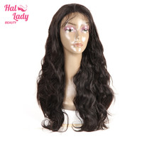 Lace Front Human Hair Wigs 250% Frontal Wig Brazilian Remy Hair Wigs With Bangs Half Hand Made Body Wave Wigs Halo Lady Beauty