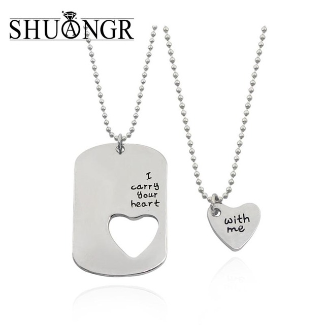 fe95b6e45d SHUANGR Romantic Couples Heart Key Pendant Her & His Love Necklace Set  Lover Valentine Silver Color Chain Valentine's Day gifts