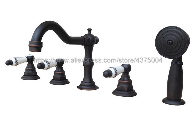 Black Brass 5pcs Bathroom Tub Sink Faucet with Hand Shower Deck Mounted 5 Holes Three Cross Handles Bathtub Taps Ntf064Black Brass 5pcs Bathroom Tub Sink Faucet with Hand Shower Deck Mounted 5 Holes Three Cross Handles Bathtub Taps Ntf064