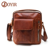 JOYIR Genuine Leather Mini Crossbody Bags Casual Mens Bag Over The Shoulder Messenger for Vintage Male Handbags