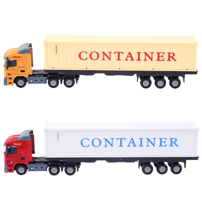 Mini Alloy Construction Vehicle Model Toys Simulation Container Trailer Truck 1:43 Diecast Model Toy Car Birthday Gift For Kids