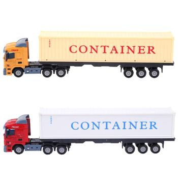Mini Alloy Construction Vehicle Model Toys Simulation Container Trailer Truck 1:43 Diecast Model Toy Car Birthday Gift For Kids image