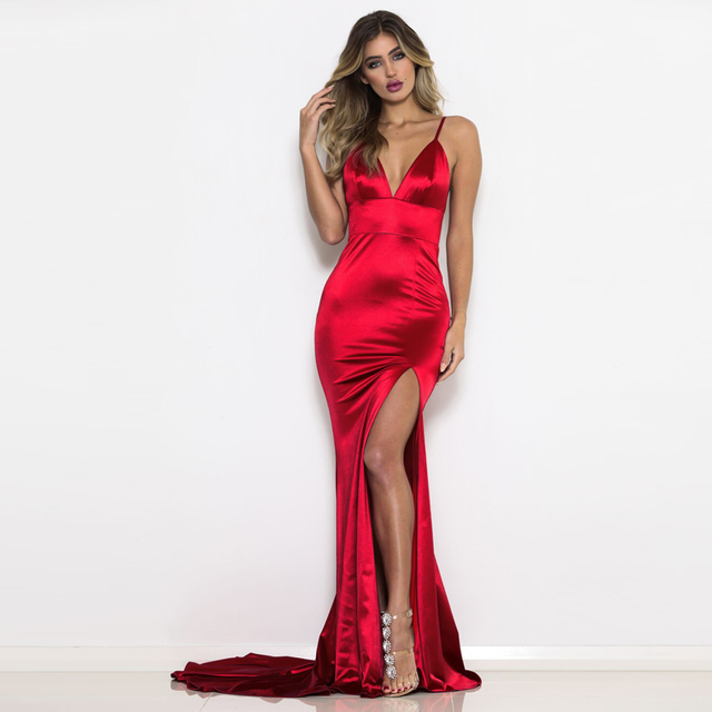 67dfe908d94f 2019 Summer V Neck Stretch Split Leg Maxi Dress Satin Bodycon Backless Floor  Length Dress Tight Sleeveless Long Club Dress RED