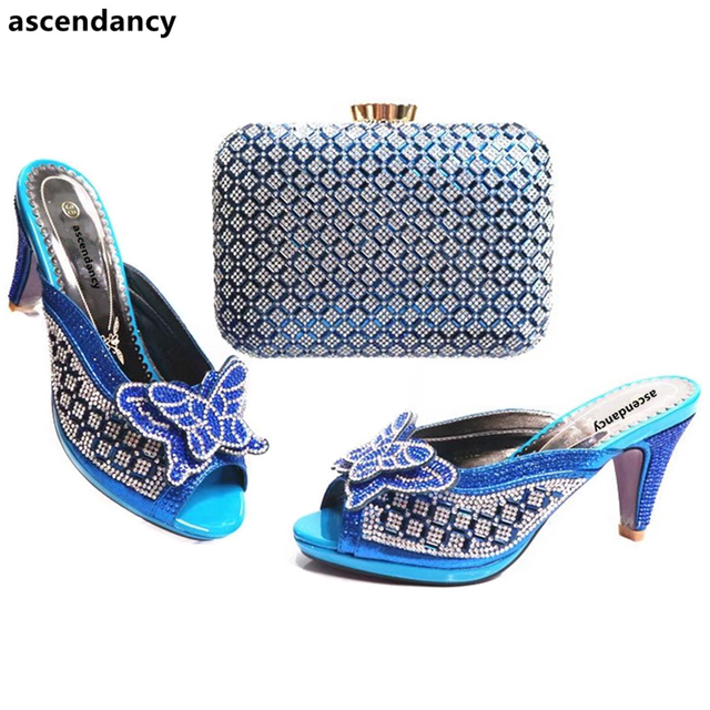 Royal Blue Shoes and Bag Sets for Women Matching Italian Shoe and Bag Set  Rhinestone Shoe and Bag Set Bag and Shoes Set Italy 37869828a401
