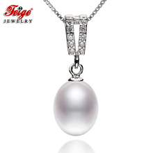 Classic style Pearl Pendant Necklaces For Womens 8-9mm Rice Natural Pearls 100% Real 925 Silver Chain Fine Jewelry