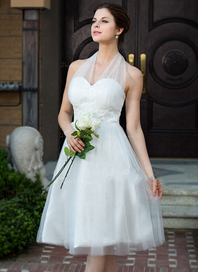 Online Shop Custom Made Sexy Short Wedding Dress 2015 Halter Off The Shoulder Gowns Knee Length Tulle A Line Plus Size