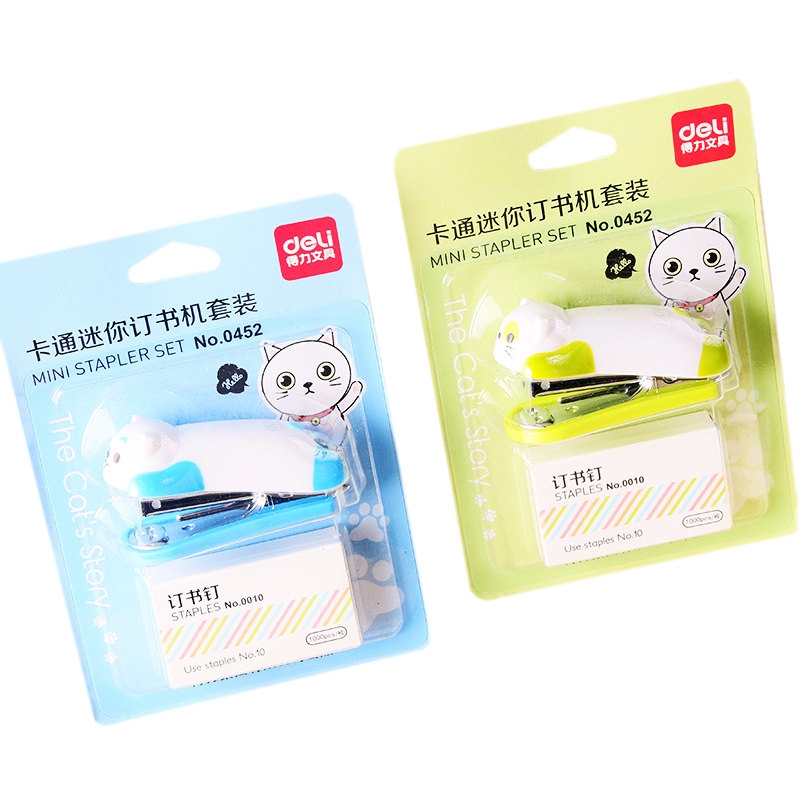 1 Pcs Deli Stapler And Staples Cartoon Cute  Office Supplies Stationery