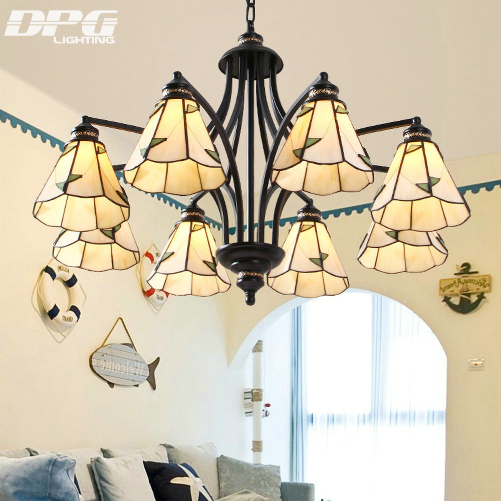 Modern Black Iron Stained Glass Flush Mount Chandeliers